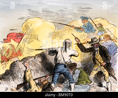 Americans shooting at the advancing British from the redoubt on Bunker Hill, 1775. Hand-colored woodcut