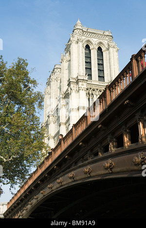 France, Paris, Pont au Double and Notre Dame Cathedral - Stock Photo