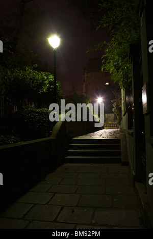 Stairs lit by street lamps, Montmartre, Paris, France - Stock Photo