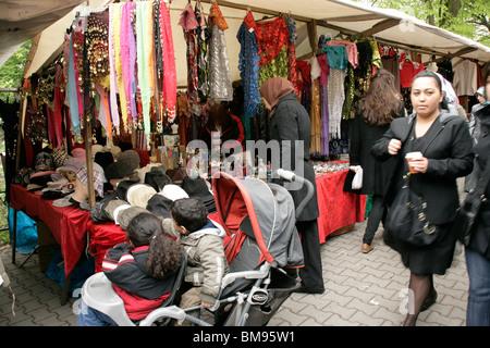 The Turkish market at Maybachufer in eastern Kreuzberg, Berlin, Germany - Stock Photo