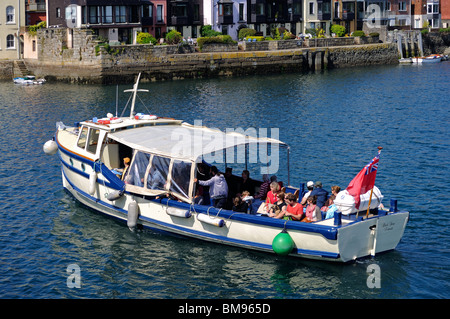 the St.Mawes to Falmouth ferry coming in to dock at  falmouth, cornwall, uk - Stock Photo