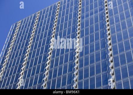 Rows of open windows on Manitoba Hydro Building, Winnipeg, Manitoba, Canada - Stock Photo