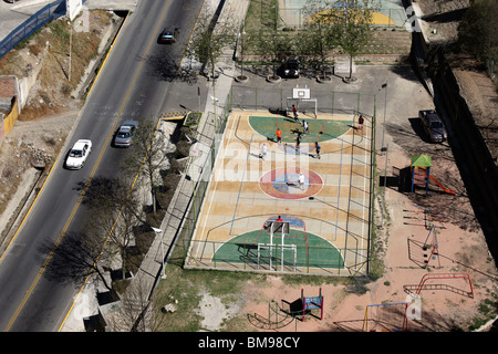 Aerial view of football pitches and Av El Poeta, La Paz , Bolivia. - Stock Photo