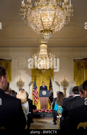 29 May 2009 – Washington, D.C. – President Barack Obama delivers remarks on efforts to secure the nations cyber - Stock Photo