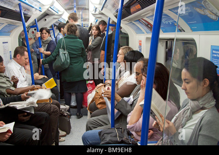 Evening Rush Hour - Victoria Line Train - London Underground - Stock Photo