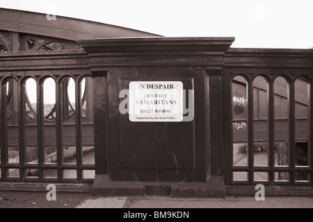 Samaritans helpline number on Wearmouth bridge in Sunderland - Stock Photo
