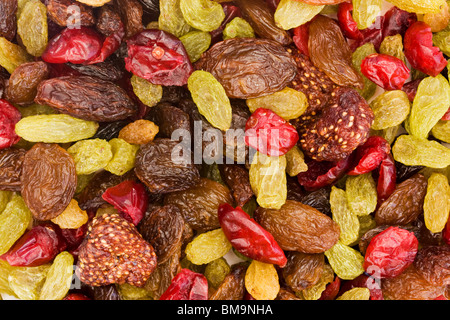 background of assorted dried fruit mix - Stock Photo