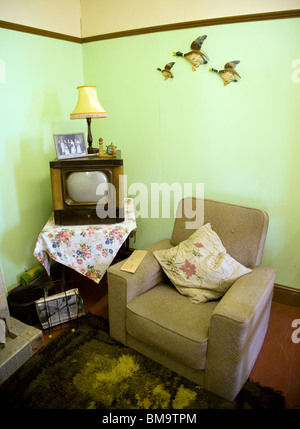 1950s front room, Museum of East Anglian Life, Stowmarket, Suffolk, England, UK - Stock Photo