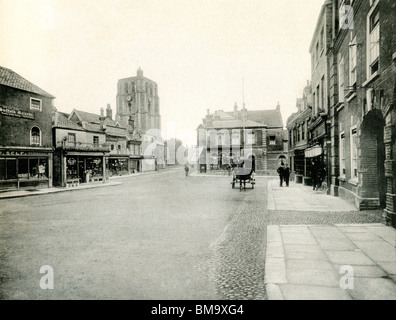 UK England, Historic Suffolk, Victorian Beccles town centre market square around 1900 - Stock Photo
