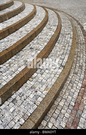 Old curved stone steps – cobblestones – granit - outdoor - Stock Photo