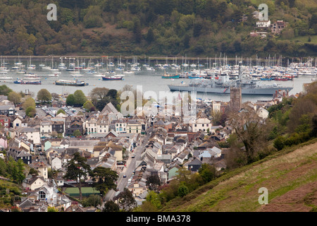 UK, England, Devon, Dartmouth, elevated view of town,Type 23 Navy frigate HMS Kent moored on River Dart - Stock Photo