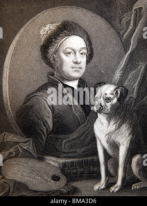 Engraving from the original painting by William Hogarth; Self Portrait; The Painter and his Pug; 1745 - Stock Photo