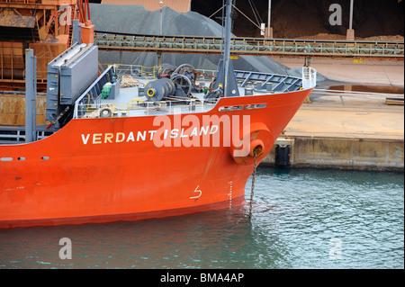Verdant Island bulk container ship being unloaded in Hyuga docks, Japan - Stock Photo