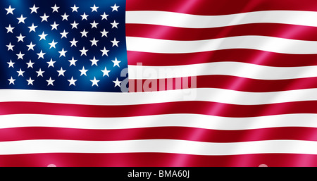 USA flag blowing in the wind illustration. - Stock Photo