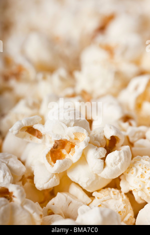 Close-up of fresh popcorn - selective focus - Stock Photo