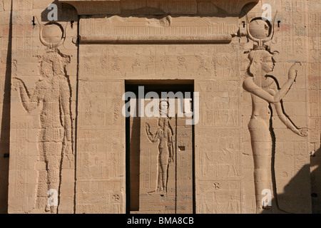 Main entrance to the first pylon of the Temple of Isis proper at Philae, now on Agilka Island in Egypt - Stock Photo