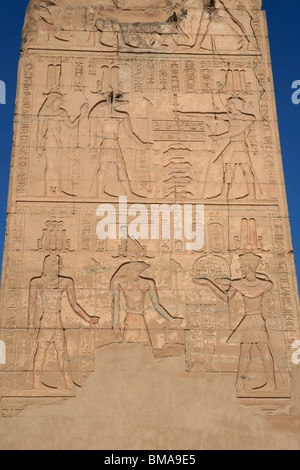 Pillar with carvings of various Egyptian gods at the Temple of Horus and Sobek in Kom Ombo, Egypt - Stock Photo