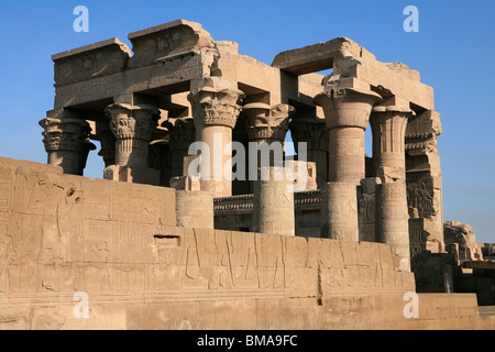 Facade of the Temple of Kom Ombo (180-47 BC) in Upper Egypt - Stock Photo