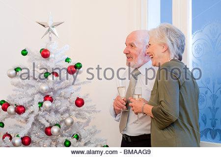 Senior couple looking at Christmas tree - Stock Photo