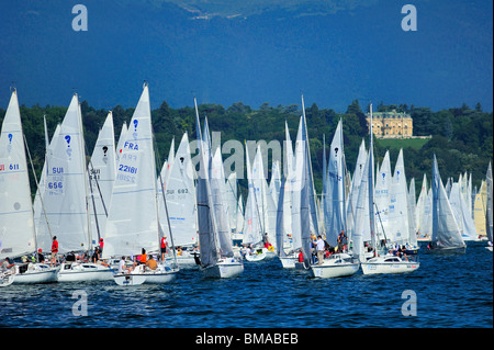 Start of the Bol d'Or yacht race on Lac Léman, 2009 - Stock Photo