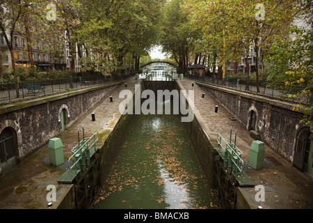 Quai de la Loire Canal and Locks, Paris, Ile-de-France, France - Stock Photo