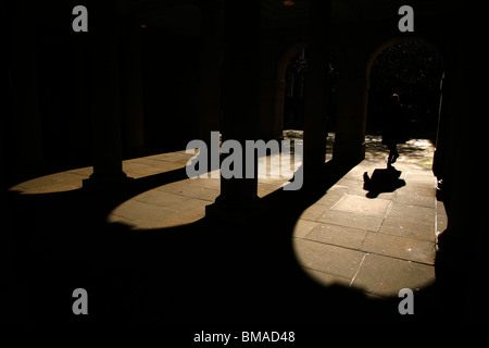 Sunshine and shadows in the arches in Inner Temple, Inns of Court, London, UK - Stock Photo