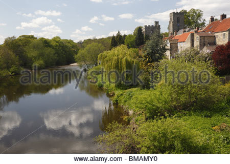 River Ure at West Tanfield Wensleydale North Yorkshire England - Stock Photo