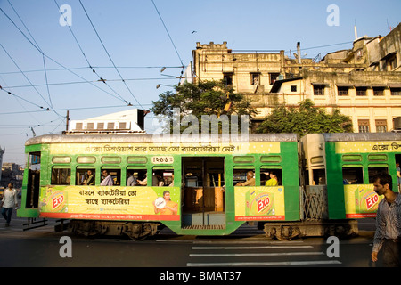 Tram in old way of commuting service ; Calcutta now Kolkata ; West Bengal ; India - Stock Photo