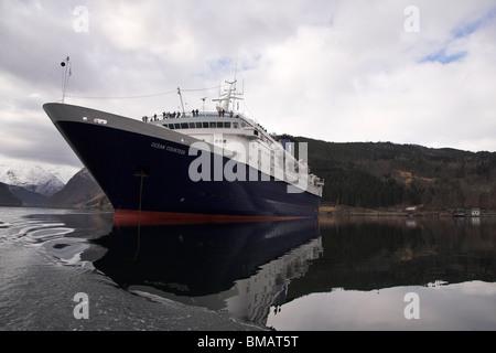 Cruise ship, Ulvik, Norway, Norwegian Fjords, Scandinavia, Europe - Stock Photo
