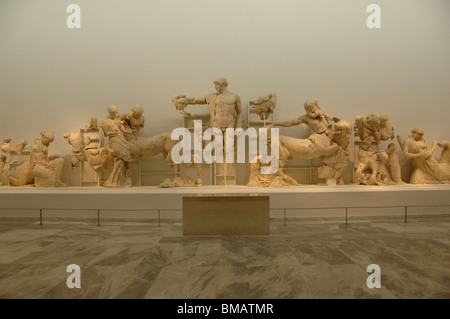 Decoration of the Temple of Zeus in the Sanctuary of Olympia. Parian marble sculptures. Olympia Archaeological Museum. - Stock Photo
