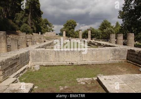 Temple of Hera (Heraion). Doric style. Sanctuary of Olympia. Ilia Province. Peloponnese region. Greece. - Stock Photo