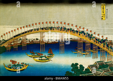 Evening Scene on the occasion of the Festival of Lanterns, by Katsushika Hokusai. Japan, 1834 - Stock Photo