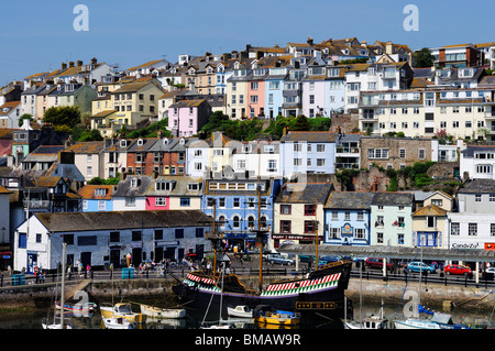 colourful houses overlooking the harbour at brixham in devon, uk - Stock Photo