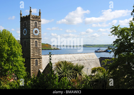 a view over falmouth bay cornwall, uk - Stock Photo