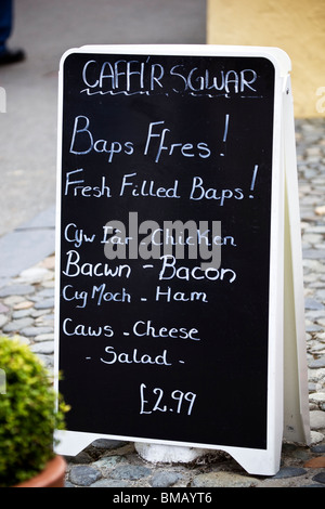 Cafe Menu in Welsh at Portmeirion Village North Wales - Stock Photo