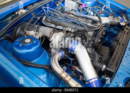 Heavily modified and turbocharged Toyota 2JZ-GTE engine used for drag racing - Stock Photo