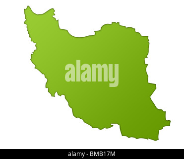 Iran map in gradient green, isolated on white background. - Stock Photo
