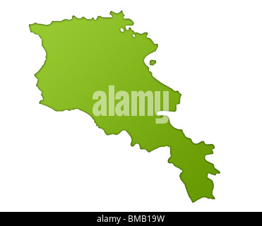 Armenia map in gradient green, isolated on white background. - Stock Photo