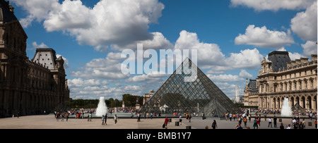 Panoramic view of the Glass Pyramid entrance, fountains of Louvre World Famous French attraction beautiful dramatic - Stock Photo
