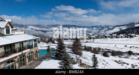 Panoramic winter scenic view of snowy Rocky Mountains in Vail Colorado, USA from resort - Stock Photo
