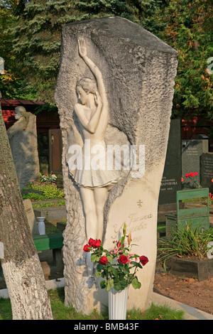 The grave of the Soviet Russian ballerina Galina Sergeyevna Ulanova (1910-1998) at Novodevichy Cemetery in Moscow, - Stock Photo