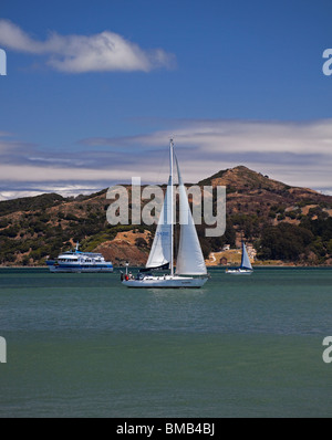 Sailing yachts and ferry in Richardson Bay off Sausalito, California USA with Angel Island in background - Stock Photo