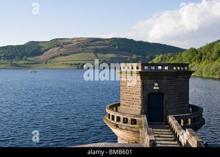 view from dam on  ladybower derwent reservoir peak district derbyshire - Stock Photo