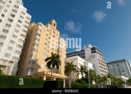 Colorful Art Deco hotels on Collins Avenue in South Beach, Miami Beach, Florida, USA - Stock Photo