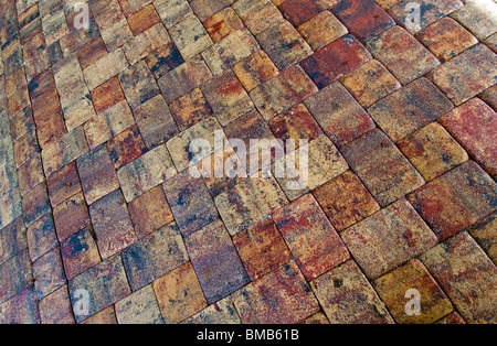 Antique brick driveway, Naples, Florida, USA - Stock Photo