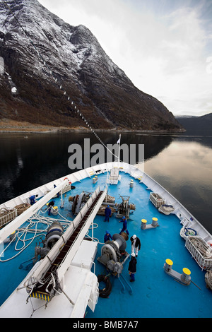 Cruise ship prow, Eidfjord, Norway, Norwegian Fjords, Scandinavia, Europe - Stock Photo