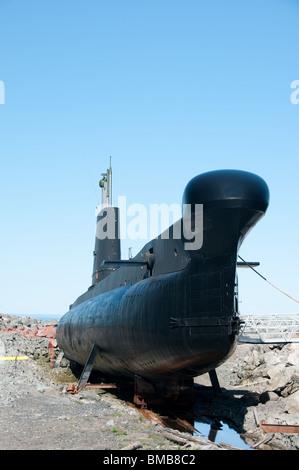 experimental submarine museum Onondaga anchored in Pointe-au-Pere, Bas-Saint-Laurent, Quebec - Stock Photo