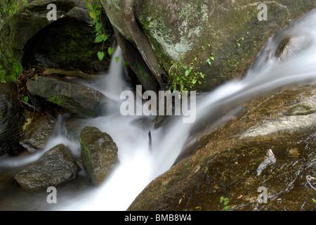Small stream from olakkayam elanjippara waterfall from thrissur,kerala,india,asia - Stock Photo