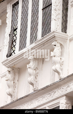 UK, England, Devon, Dartmouth, Smith Street, historic timber framed former Merchants' House detail - Stock Photo