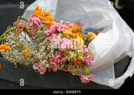 dead flowers in the trash bucket/ waste bin/ rubbish bin/ garbage bin - Stock Photo